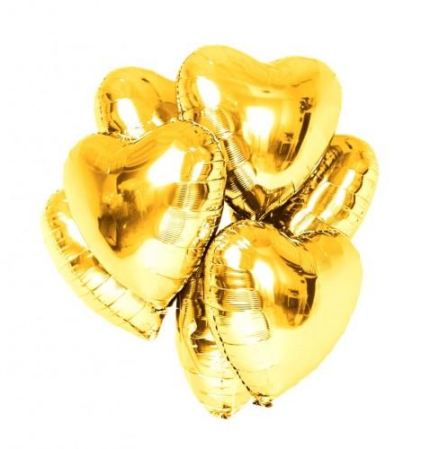 Фольгированные золотые сердца фото в интернет-магазине Шарики 24