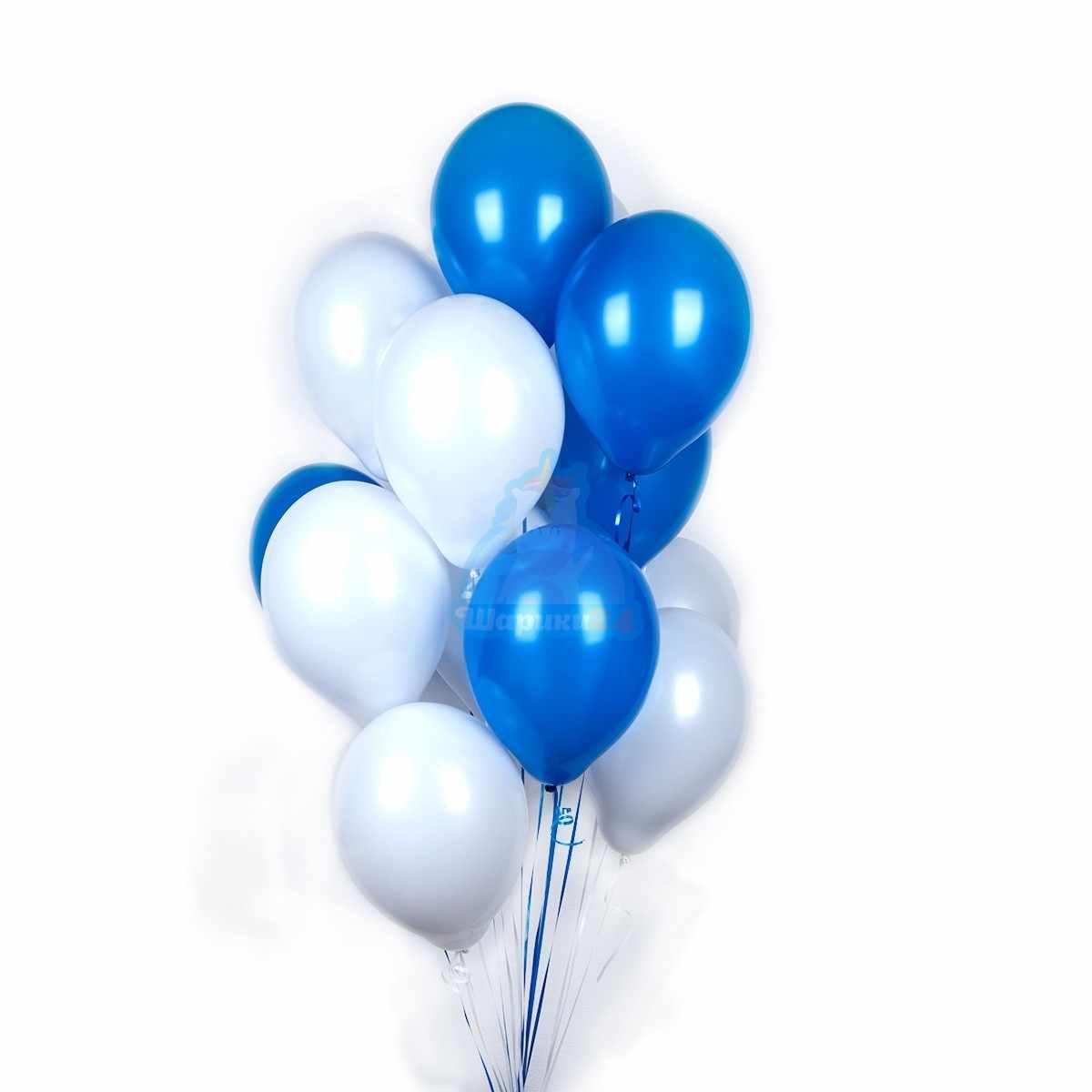 Бело-синие шарики с гелием фото в интернет-магазине Шарики 24