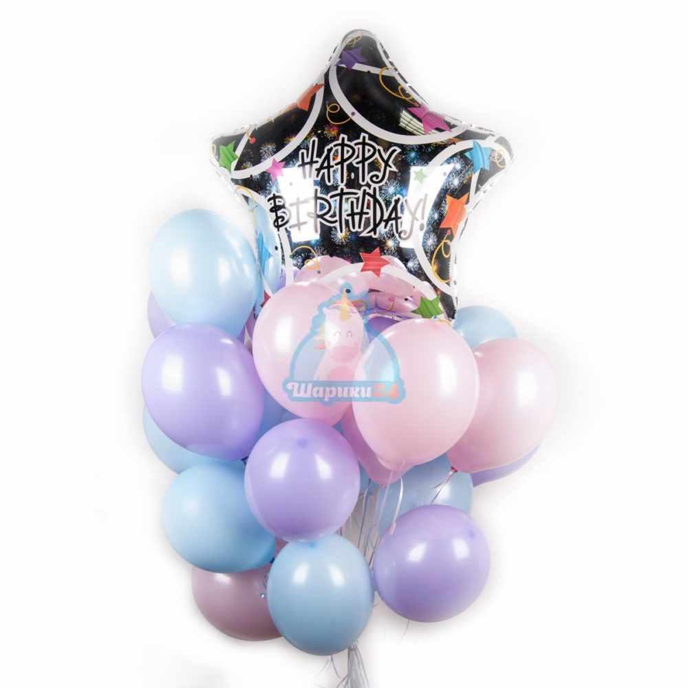 Композиция из воздушных шариков нежных цветов на день рождения с большой звездой Happy Birthday!