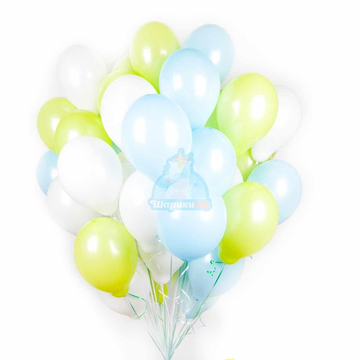 Облако салатовых белых и голубых шаров фото в интернет-магазине Шарики 24