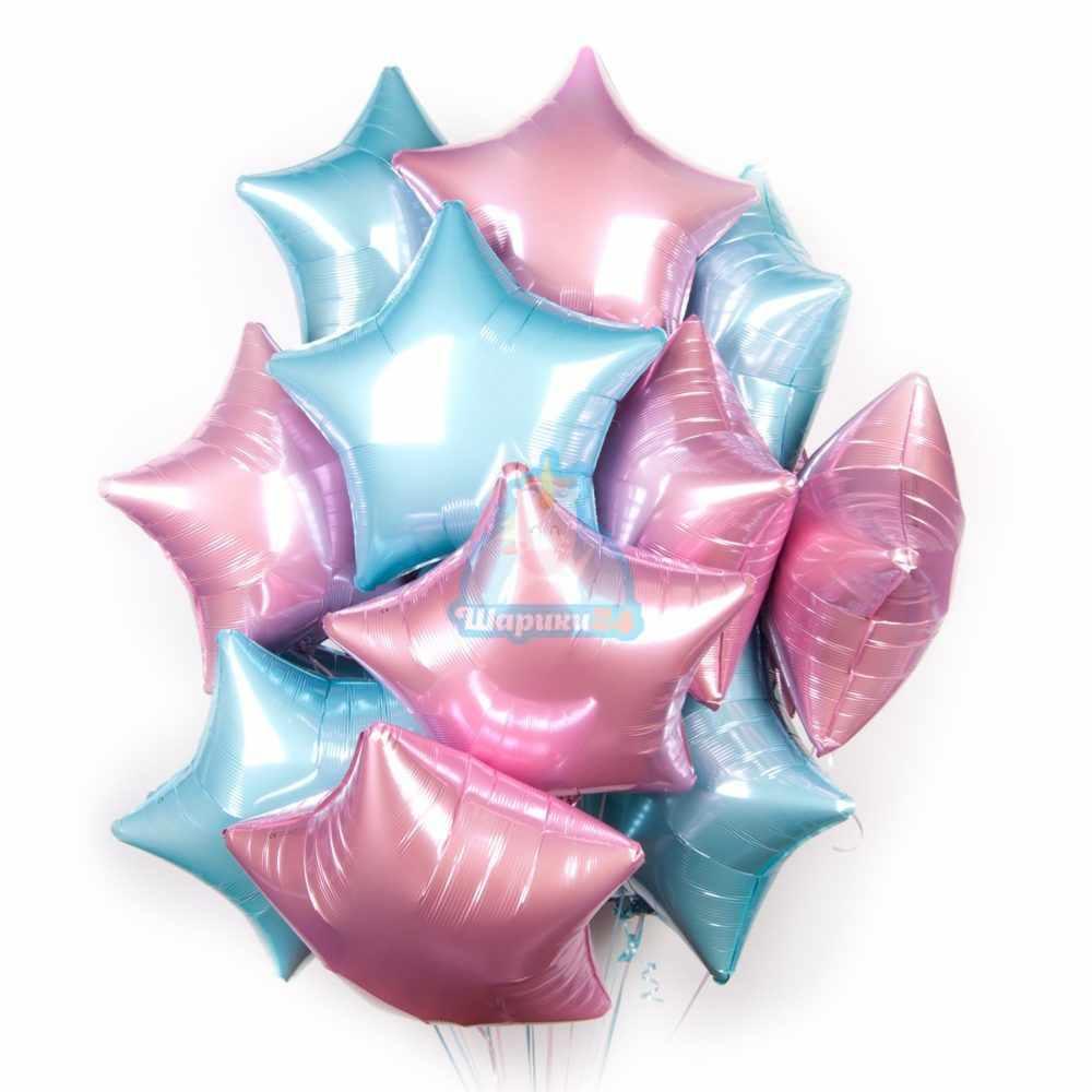 Композиция из фольгированных розовых и голубых звезд