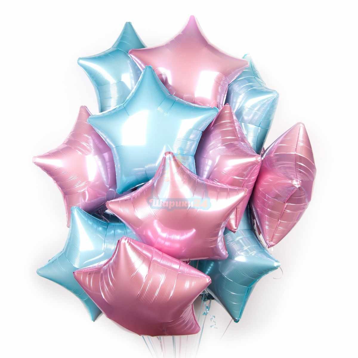 Облако розовых и голубых звезд фото в интернет-магазине Шарики 24