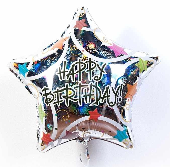 Фольгированная большая звезда Happy Birthday!