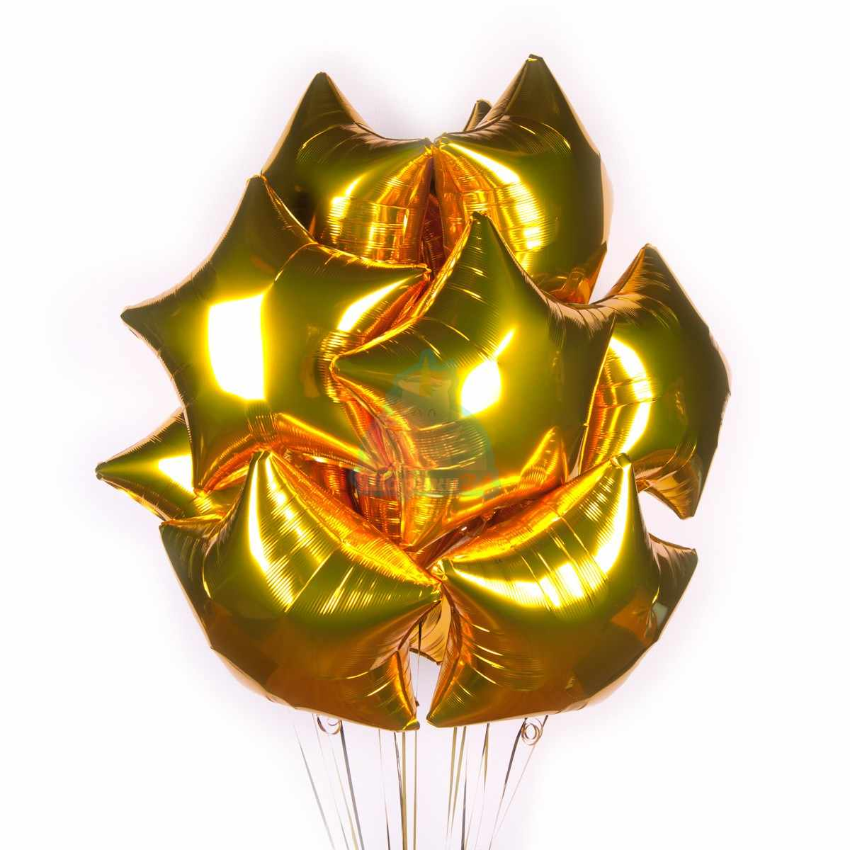 Фольгированные золотые звезды 50 шт. фото в интернет-магазине Шарики 24