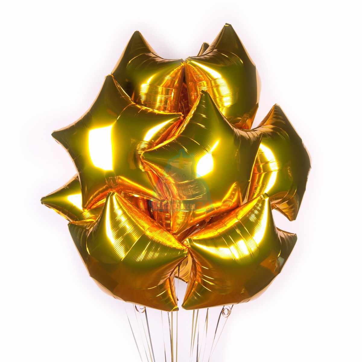 Золотые фольгированные звезды 50  шт фото в интернет-магазине Шарики 24