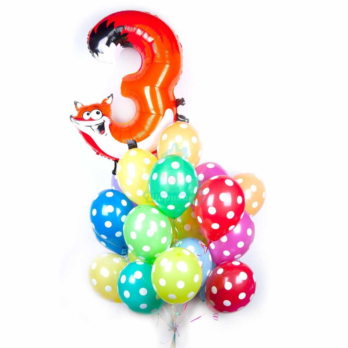 Букет из шариков в точку с цифрой в виде зверюшки фото в интернет-магазине Шарики 24