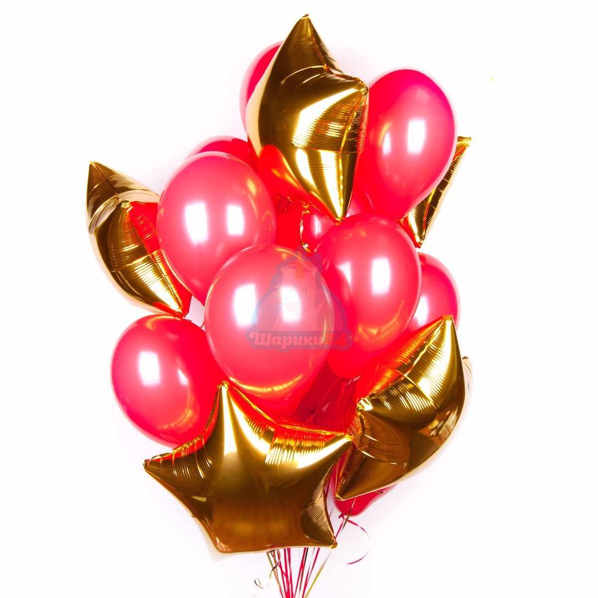 Облако красных шаров с золотыми звездами фото в интернет-магазине Шарики 24