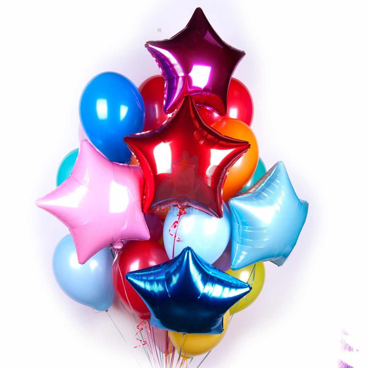 120 Разноцветных шариков со звездами фото в интернет-магазине Шарики 24