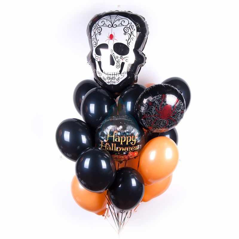 Облако шаров на  Хэллоуин с белым Черепом и черно оранжевыми шарами фото в интернет-магазине Шарики 24