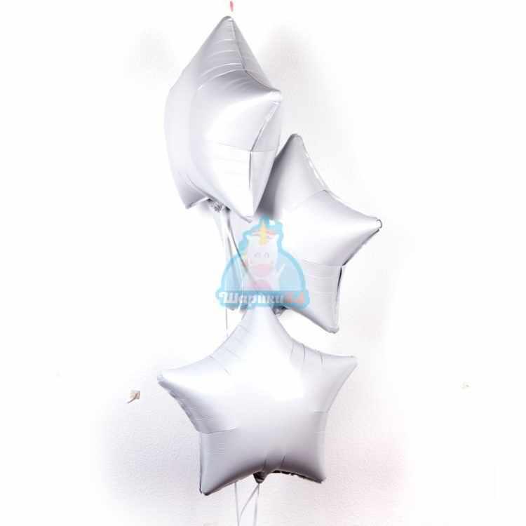 Фольгированные белые звезды