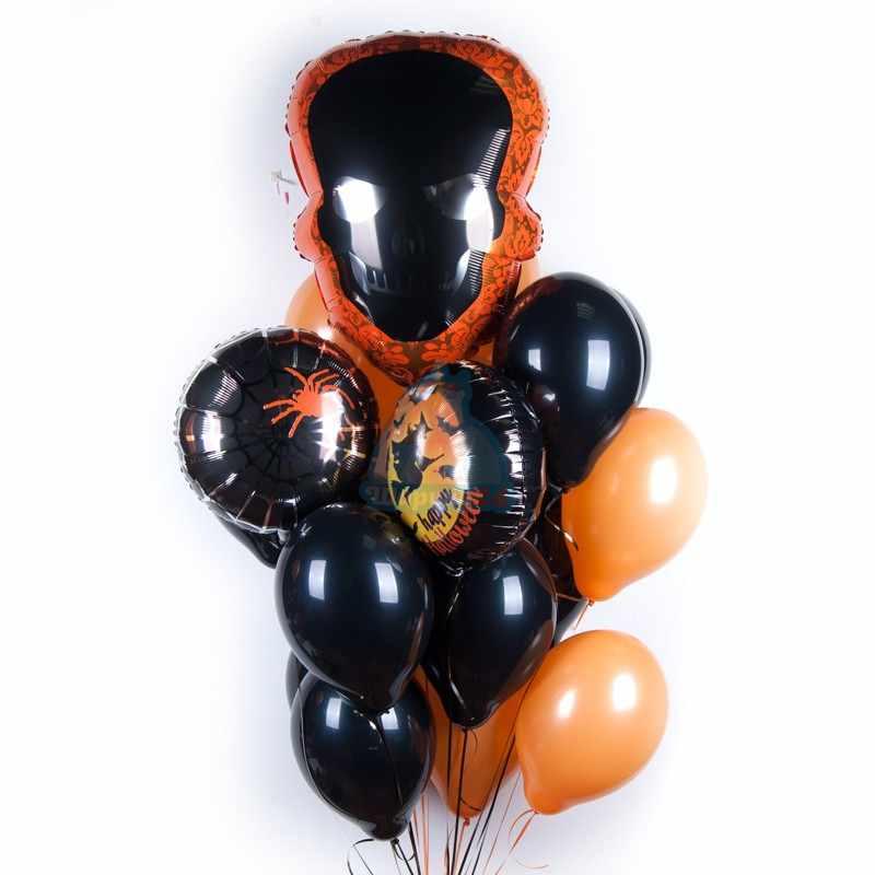Облако шаров на  Хэллоуин с черным Черепом и черно оранжевыми шарами фото в интернет-магазине Шарики 24