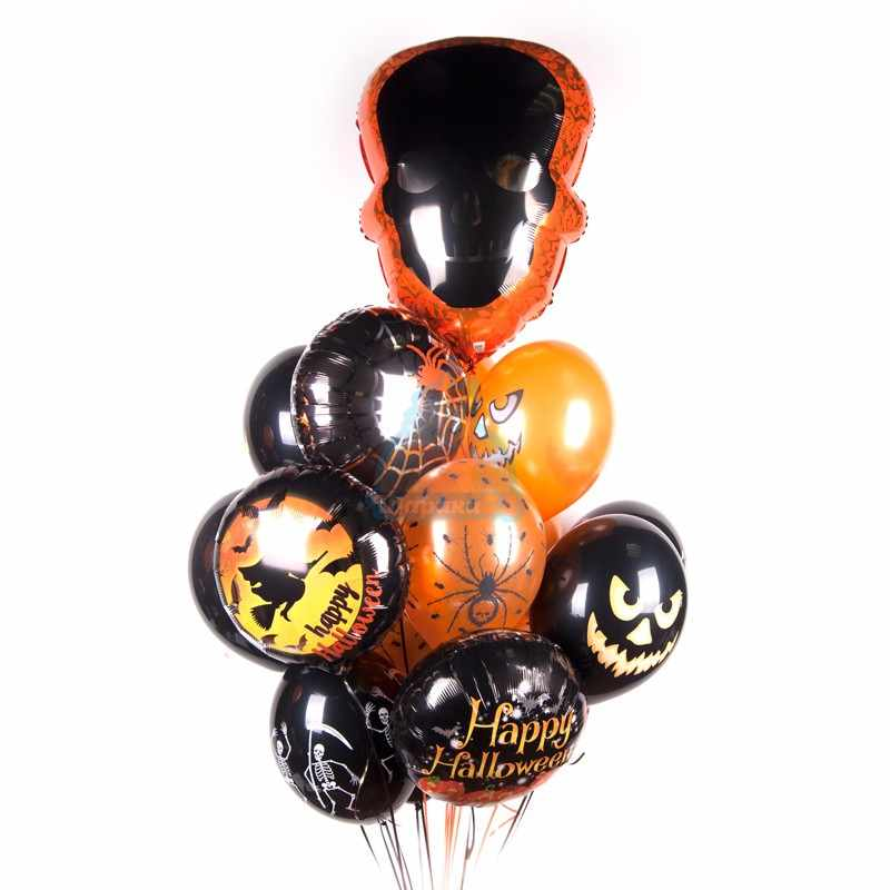 Букет шаров на  Хэллоуин с черным Черепом, тыквами, скелетами, пауками фото в интернет-магазине Шарики 24