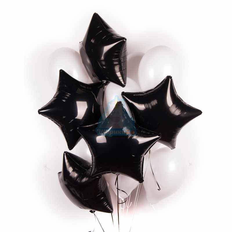 Облако белых шариков с черными звездами фото в интернет-магазине Шарики 24