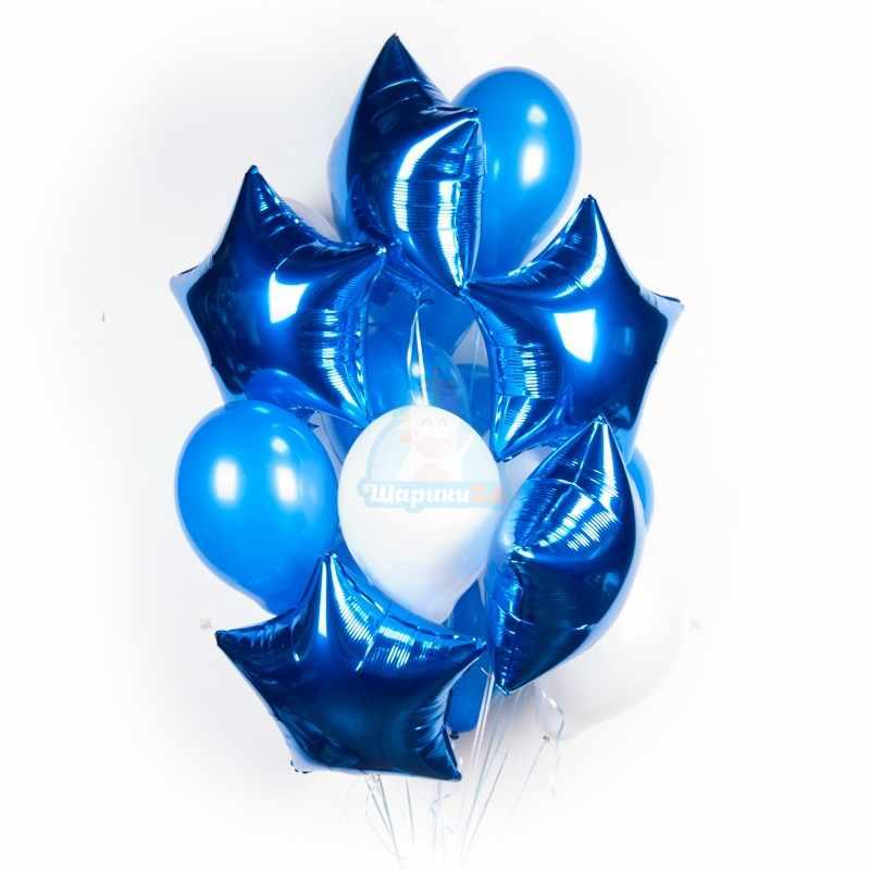 Облако бело-синих шариков с синими звездами фото в интернет-магазине Шарики 24