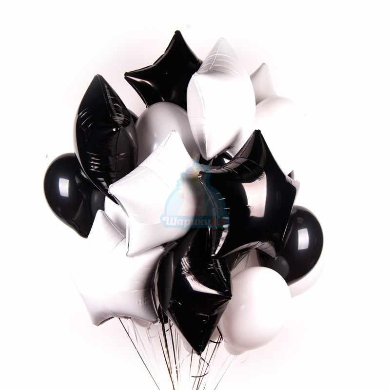 Облако белых и черных шариков со звездами фото в интернет-магазине Шарики 24