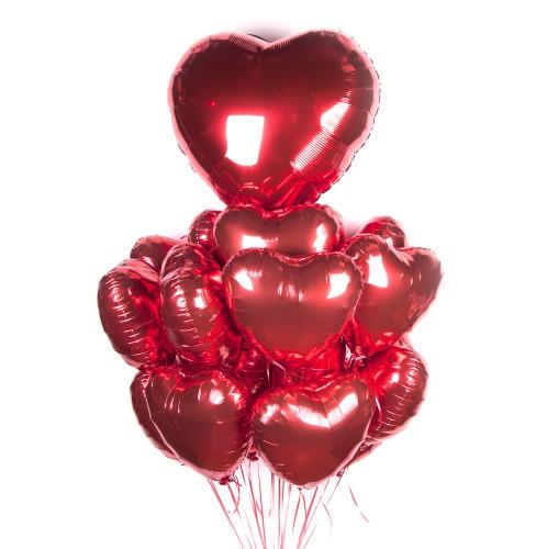 Большое облако сердечек с большим сердцем фото в интернет-магазине Шарики 24