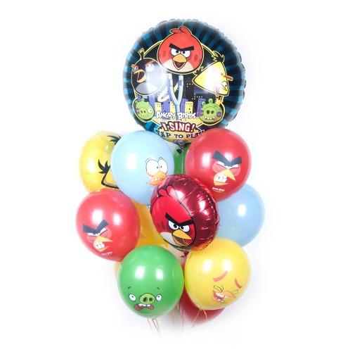 Букет шаров Angry Birds с музыкальным шаром фото в интернет-магазине Шарики 24