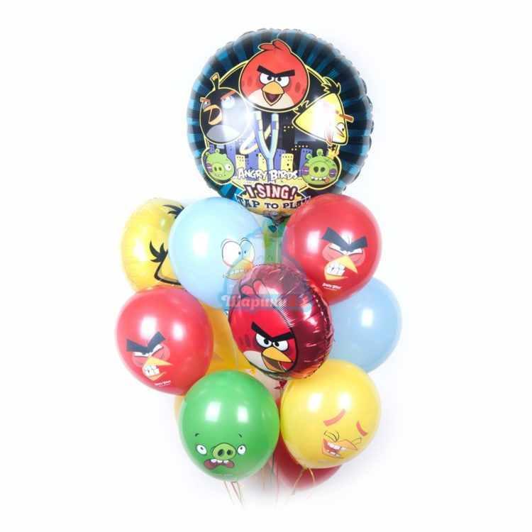 Композиция из шаров Angry Birds с музыкальным шаром
