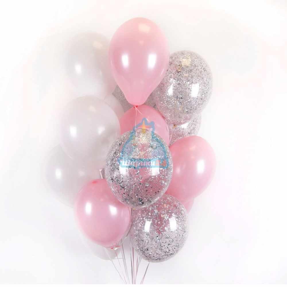 Облако бело-розовых и прозрачных шаров с серебряными блёстками - 22 шт