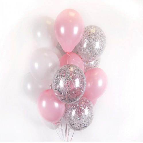 Бело-розовые и прозрачные шарики с серебряными блёстками фото в интернет-магазине Шарики 24