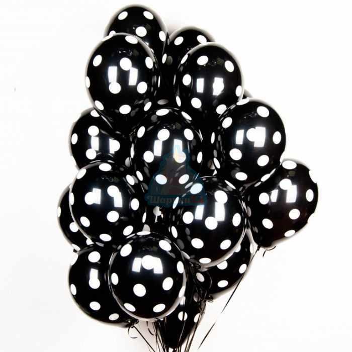 Облако черных шариков в точку - 25 шт
