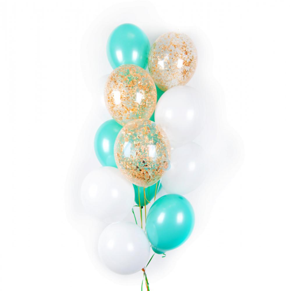 Облако бело-мятных и прозрачных шаров с золотыми блёстками - 22 шт
