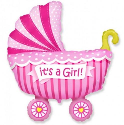 Фольгированная коляска розовая фото в интернет-магазине Шарики 24