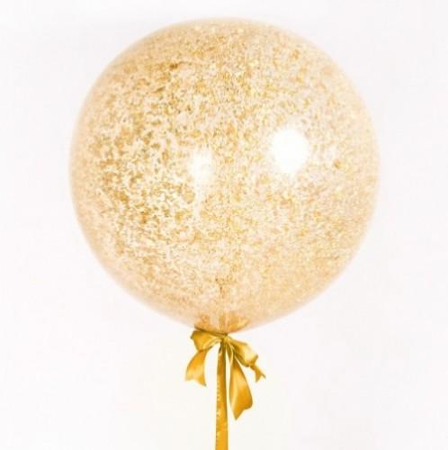 Большой прозрачный шар с золотыми блестками фото в интернет-магазине Шарики 24