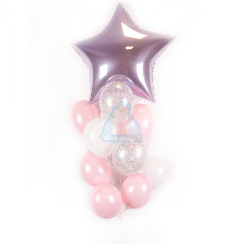 Композиция из бело-розовых, прозрачных шариков с блестками и большой звездой