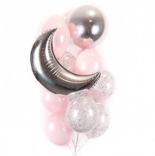 Букет бело-розовых и прозрачных шариков с блестками, фольгированным месяцем и сферой фото в интернет-магазине Шарики 24