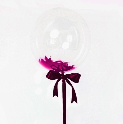Большой кристальный шар 60см. с перьями фото в интернет-магазине Шарики 24