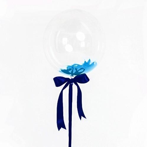 Большой кристальный шар 40см. с перьями фото в интернет-магазине Шарики 24