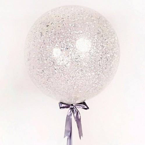 Большой прозрачный шар с серебряными блестками фото в интернет-магазине Шарики 24