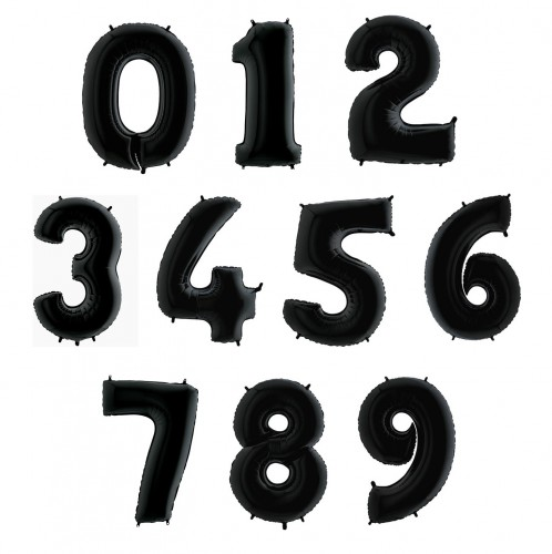 Фольгированные цифры черные фото в интернет-магазине Шарики 24