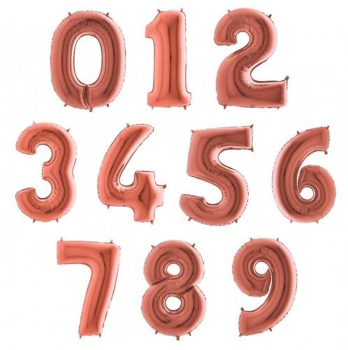 Фольгированные цифры розовое золото фото в интернет-магазине Шарики 24