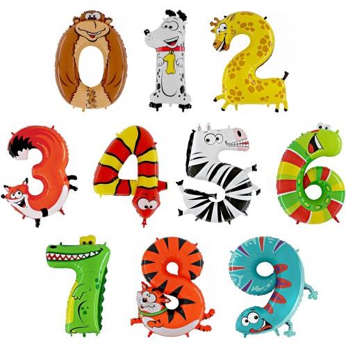 Фольгированные цифры в виде животных фото в интернет-магазине Шарики 24