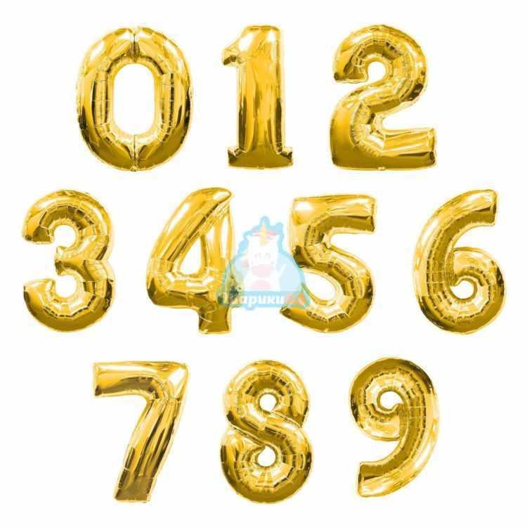 Шары цифры золотые