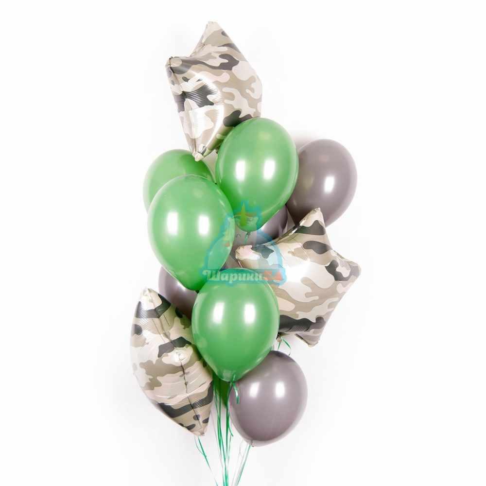 Композиция из серых и зеленые шариков со звездами хаки