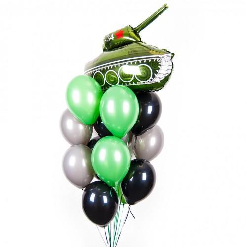 Букет шаров с фольгированным танком фото в интернет-магазине Шарики 24