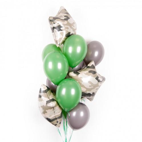 Серые и зеленые шарики со звездами хаки фото в интернет-магазине Шарики 24