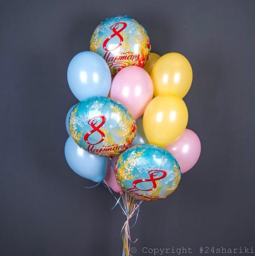 Букет розовых, желтых и голубых шаров на 8 марта! фото в интернет-магазине Шарики 24