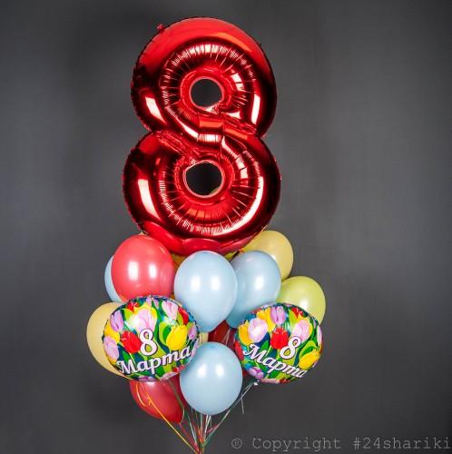 Букет разноцветных шаров с цифрой на 8 марта фото в интернет-магазине Шарики 24