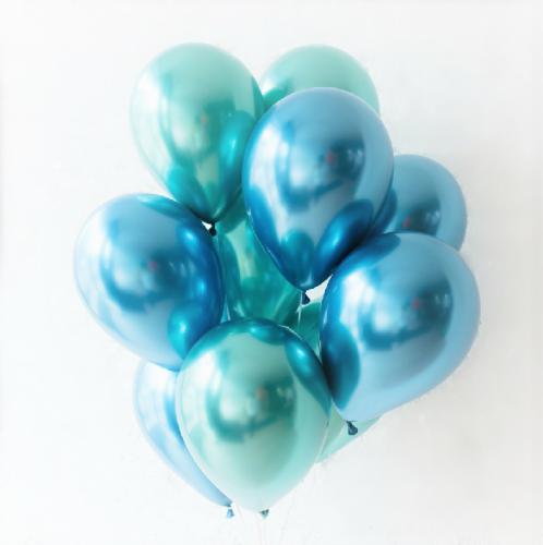 Букет голубых и зеленых хромированных шаров фото в интернет-магазине Шарики 24