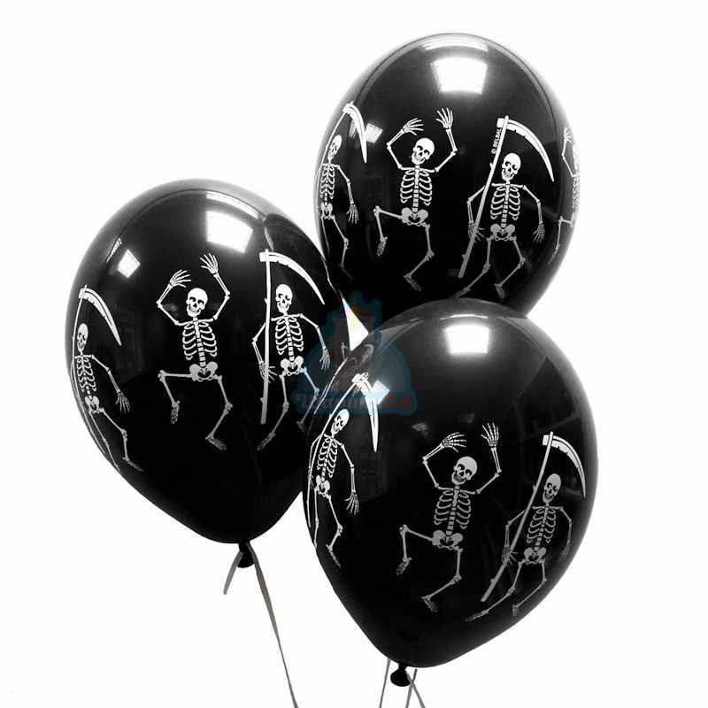 Облако черных шариков со скелетами - 20 шт