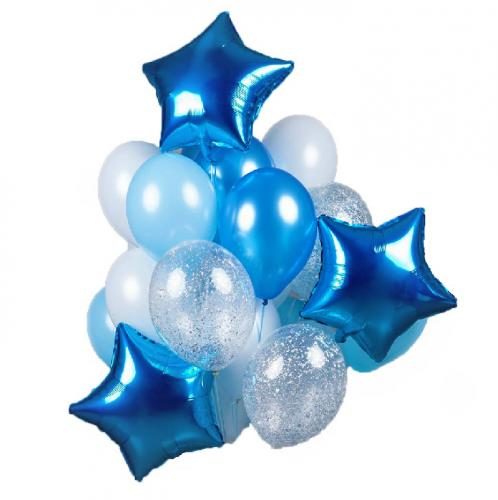 Букет бело-голубых, синих и прозрачных шаров с серебряными блестками и звездами фото в интернет-магазине Шарики 24