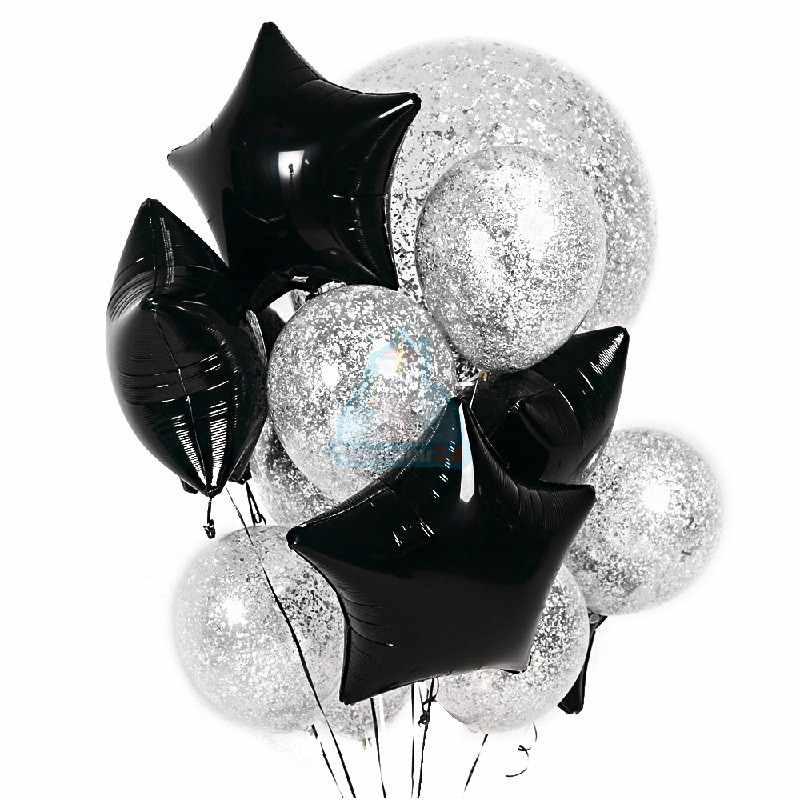 Композиция из прозрачных шаров с серебряными блестками и черными звездами