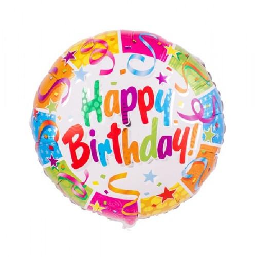 Фольгированный разноцветный шар Happy Birthday! фото в интернет-магазине Шарики 24