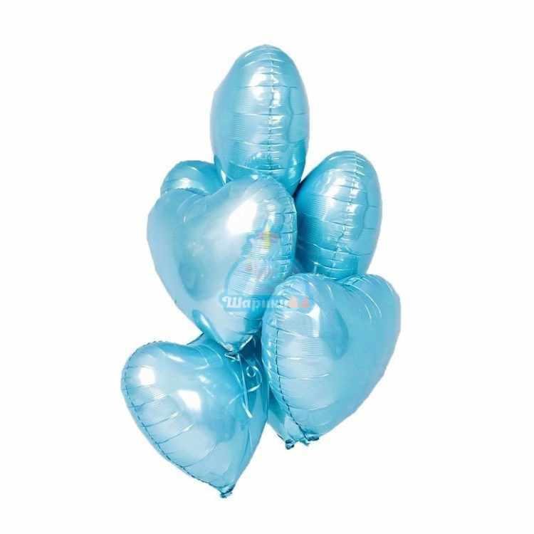 Фольгированные голубые сердца