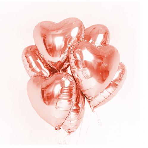 Фольгированные сердца розовое золото фото в интернет-магазине Шарики 24