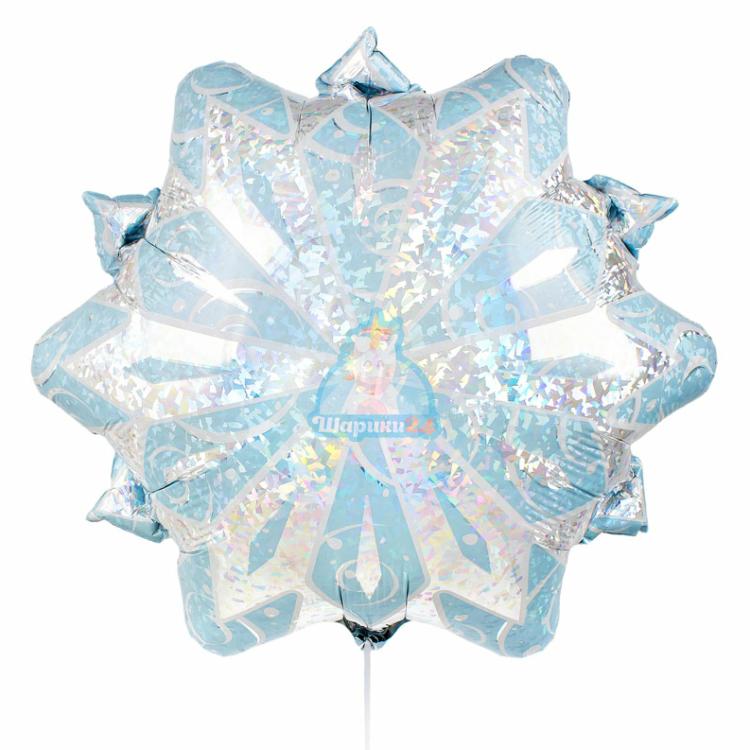 Фольгированная фигура снежинка белая